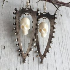 Sterling Silver Shield Earrings, Memento Mori with Ivory Bone Skulls Snake Jewelry, Skull Jewelry, Metal Jewelry, Jewellery, Jewelry Art, Memento Mori Art, Patriotic Symbols, Skull Earrings, Halloween Jewelry
