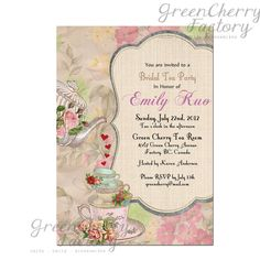 shabby spring bridal shower high tea invite baby shower tea party invitation printable birthday