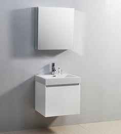 """24"""" Virtu Zuri JS-50324-GW Single Sink Bathroom Vanity - Gloss White #Virtu #HomeRemodel #BathroomRemodel #BlondyBathHome #BathroomVanity"""