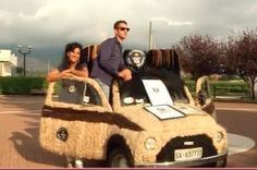 An Italian women has covered her classic Fiat 500 in 265 pounds of human hair.