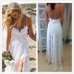 Sexy Spaghetti Straps Backless Lace Beanch Wedding dresses 2014 Cheap Price Front Split Bridal Gowns Free Shipping $135.00