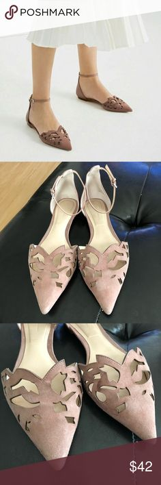 ZARA Italian Leather D'Orsay Cutout Pointed Flats Crafted from genuine Italian leather, these beauties stun in a gorgeous blush pink shade with laser cut outs on a pointy toe. Overall good condition, just need a good cleaning! Marked size EU 39 but fits like true US 8.5! Zara Shoes Flats & Loafers