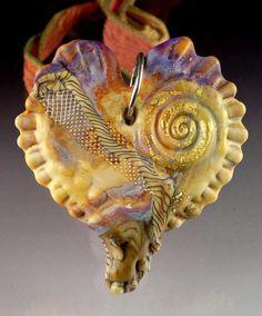 Heart Bead Pendant - Lampwork Glass Bead created by Andrea Guarino