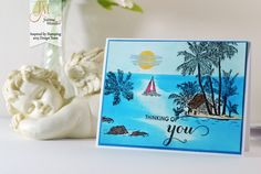 Inspired by Stamping, Joanna Munster, Spring Bouquet stamp set, Tropical Paradise stamp set, thinking of you card, tropical card