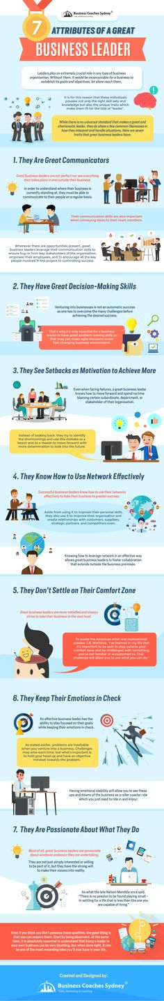 7 Attributes of a Great Business Leader #Infographic #Leadership
