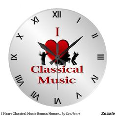 I Heart Classical Music Roman Numerals Large Clock 25% Off