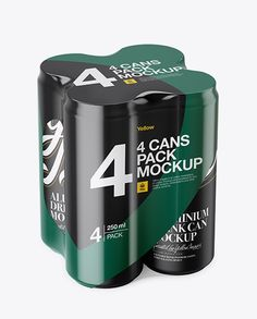 4 Matte Cans in Shrink Wrap Mockup - Half Side View (High Angle Shot)