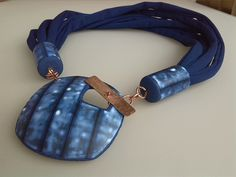 washed blue toggle polymer pendant by Dev'Art60