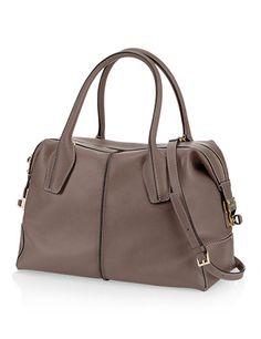 Tods D Bag Small Leather Bowler Bag Grijs