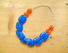 Cobalt blue and orange colorblock Necklace