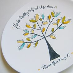 You've really helped us grow personalized class tree plate.  Love this idea!