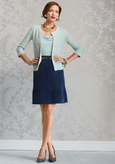 CAbi Spring 2013 - The new Socialite Sweater.  My favorite piece of the season.  Pair it with the jordan almond Flip It Tee, the Metallic Skinny Belt, and the sensational navy Bon Voyage skirt.  Delightful!