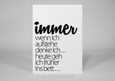 Humor - ► typocard | aufstehen | T017 Postkarte - ein Designerstück von claus-peter-4 bei DaWanda
