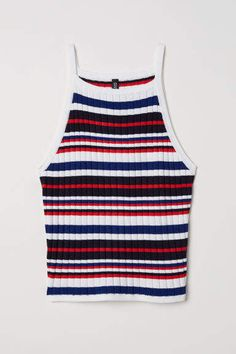 H&M Ribbed Tank Top - White/multicolored stripes - Women Teen Fashion Outfits, Teenage Outfits, Outfits For Teens, Girl Outfits, Tomboy Outfits, Emo Outfits, Punk Fashion, Lolita Fashion, Fashion Boots