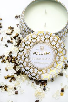 luxe apothetique - Voluspa Suede Blanc Candle AVAILABLE ONLINE AT  http://www.shopluxe.com/voluspa-suede-blanc-candle/)