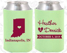 Indiana Wedding Ideas, Coolies, Destination Wedding, State Gifts, State Wedding Ideas, Indiana Gifts, Indiana Wedding Favor Koozies (113)