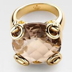 GUCCI Horsebit Cocktail Ring with Smokey Quartz