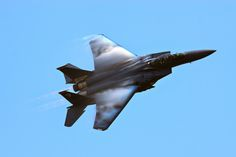 An F-15E Strike Eagle is demonstrated at Air Expo 2011 at Joint Base Charleston in North Charleston, South Carolina.