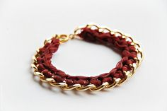 Gold and Burgundy Braided Chain Bracelet by BoutiqueMinimaliste, $15.00