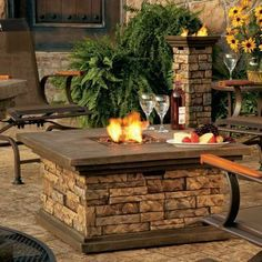 Canyon Ridge Fire Pit / Column (lowes) awesome with American Fireglass Beads added