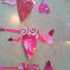 Heart flamingos from valentine gift bags made by me and my three year old daughter :)