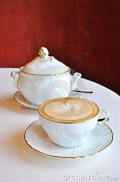 Cappuccino coffee served at luxurious restaurant