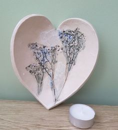 floral ceramic heart dish