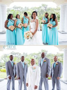 The Bridesmaids Wore Strapless Turquoise Dresses And Carried