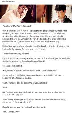 James Potter and Regulus black part 1 by http://marauders4evr.tumblr.com/
