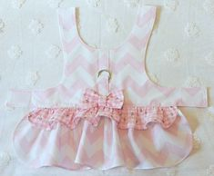 Dog Harness Dress Baby Pink Chevron Gingham Check with Tiny Rosebuds by piddleronthewoof on Etsy