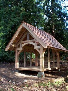 I like this for a wood shed. [Murray Timber Framing, Seattle - timberframe school timber frame home pole barn builder church gazebo playhouse play house shed carport post and beam heavy timber trellis] Outdoor Projects, Wood Projects, Woodworking Projects, Kids Woodworking, Pole Barn Builders, Architecture Renovation, Backyard Pavilion, Gazebo Pergola, Pergola Kits