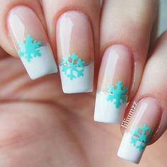 """I can't handle this manicure right now!❄️ Amazing """"chilly"""" French tip by @Liliumzz! Omg wow! - Snowflake #NailVinyls snailvinyls.com☃"""