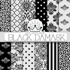 """Damask Digital Paper: """" Black Damask"""" with black damask background, black damask pattern, black quatrefoil #damask #digitalpaper #scrapbookpaper #partysupplies #planner #polkadots"""