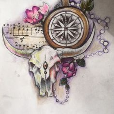 Bull Skull and Compass I by seizetheghost on deviantART