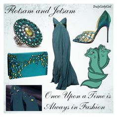 """Disney Style: Flotsam and Jetsam"" by trulygirlygirl ❤ liked on Polyvore featuring Flotsam & Jetsam, Christian Louboutin, Menbur, Aqua, disney, flotsam and jetsam and the little mermaid"