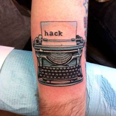 Typewriter hack tattoo - blue and black ink - coder nerd hacker antique