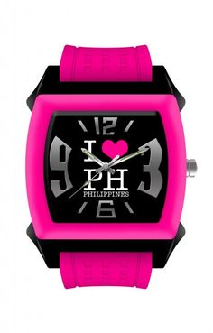 """""""I ♥ PH PHILIPPINES"""" - [Fuchsia]    The rounded square black dial has a promiment """"I ♥ PH PHILIPPINES"""" design at the center, surrounded by stylized silver rectangles and 3, 6, 9 and 12 hour indices. Its silver and luminous hands make reading time easy even in the dark."""