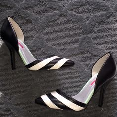 """🔲C Label Striped Pumps - you need a bold shoe!🔲 Super cute C Label Striped D'Orsay Pumps with Mint Green Accent, 4"""" heel, worn once, inside. One shoe has two light marks on the white stripe. You can barely see them. I purchased them this way as they were the last pair in stock. Otherwise, perfect condition! C Label Shoes Heels"""