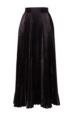 Pleated A Line Metallic Silk Skirt by HUSSEIN BAZAZA for Preorder on Moda Operandi