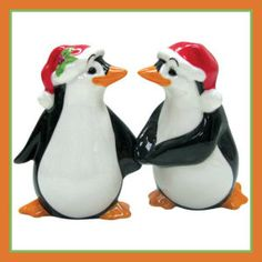 Product Description: Westland Giftware Mwah, Magnetic Christmas Penguins Salt and Pepper Shaker Set, These cute shakers have a magnetic insert Salt N Peppa, Westland Giftware, Salt And Pepper Set, Salt Pepper Shakers, All Things Christmas, Christmas Gifts, Christmas Wedding, Christmas Decorations, Penguins