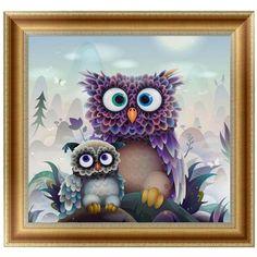 DIY 5D Diamonds Embroidery owl Round Diamond Painting Cross Stitch Kits Diamond Mosaic Home Decoration 30*30cm -W210