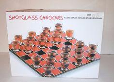Shotglass Checker Board Set Party Fun Bar Drinking Game 24 Shot Glasses + Board #SpencersGifts