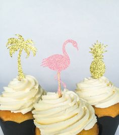 Flamingo Cupcake Toppers • Pineapple Cupcake Toppers • Palm Tree • Tropical Party • Birthday • Baby Shower • Bridal Shower • Bachelorette • by ShayloAndLolli on Etsy https://www.etsy.com/listing/287330123/flamingo-cupcake-toppers-pineapple