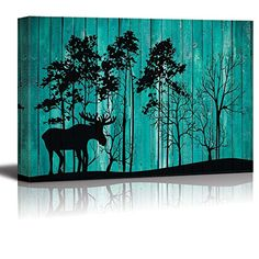 Find amazing - Silhouette Illustration of Trees on a Forest and a Moose Over Teal Wooden Panels - Canvas Art Home Decor - inches moose gifts for your moose lover. Home Wall Art, Home Art, Moose Mug, Poster Prints, Posters, Canvas Art, Teal, Silhouette, Illustration