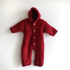 Engel organic merino wool fleece suit blue or red for babies