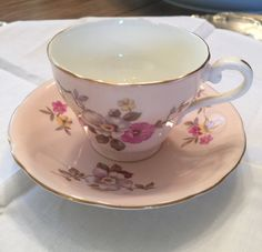Beautiful vintage Aynsley teacup and saucer/floral teacup/dusty rose teacup by VintageSowles on Etsy