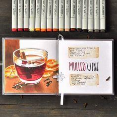 Red. Hot. Sweet  Рецепт глинтвейна в новом скетчбуке @savannasketch. Отличная бумага, ручная сборка, квадратный (!!!) формат