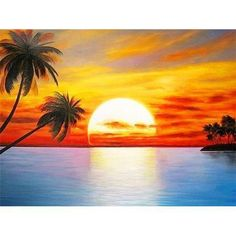 Searching for affordable Beach and Palm Tree Painting in ? Buy high quality and affordable Beach and Palm Tree Painting via sales. Enjoy exclusive discounts and free global delivery on Beach and Palm Tree Painting at AliExpress Beach Sunset Painting, Beach Art, Sunset Beach, Purple Sunset, Simple Oil Painting, Oil Painting On Canvas, Simple Paintings, Landscape Art, Landscape Paintings