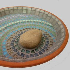 Mosaic ideas for mason bee bath, like the rocks in it, a great place for bees to land but rocks need to be flatter