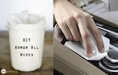 DIY Armor All wipes- 2 tall plastic containers 1 roll Viva paper towels 2 cups warm distilled water 2 cups baby oil 1 tablespoon distilled white vinegar drops Dawn dish soap drops Melaleuca essential oil